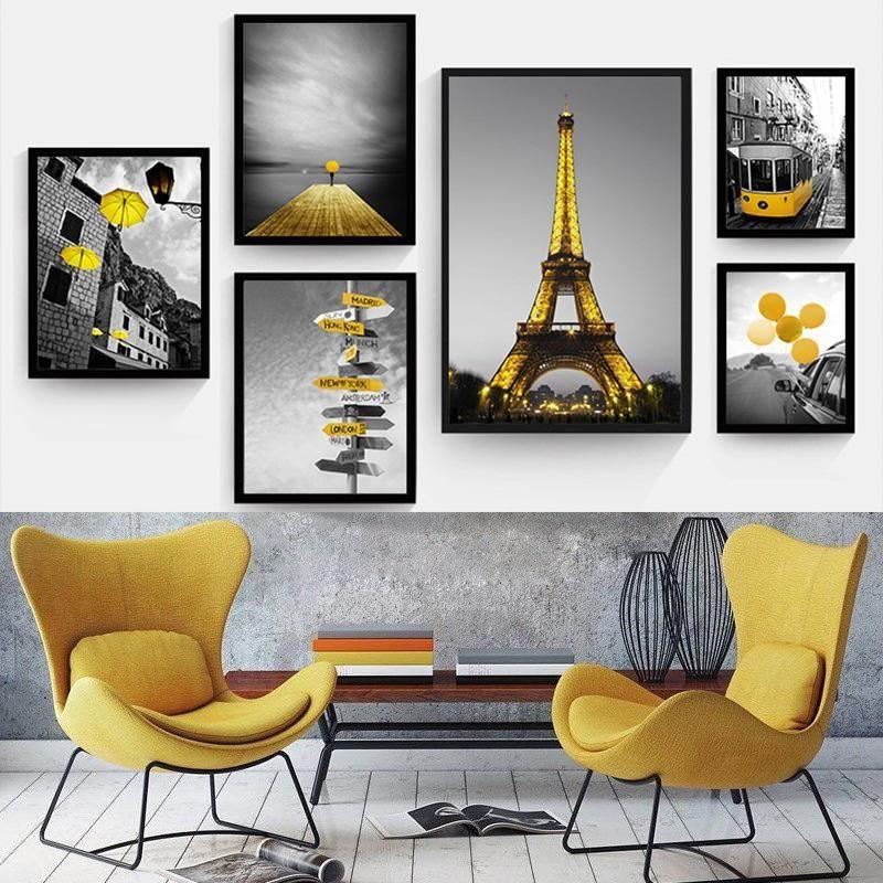 Cenário de estilo amarelo imagem de casa decoração nórdica pintura de tela de parede impressão preto e branco pano de fundo Paisagem para sala de estar1