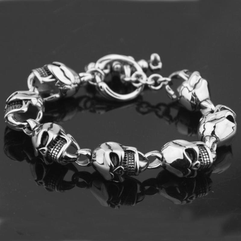 Heiße verkaufende neue Art und Weise Schmucksachen Gold Farbe Titan Edelstahl Klassischer Biker-Männer Schädel schwerer Armband / Armbänder