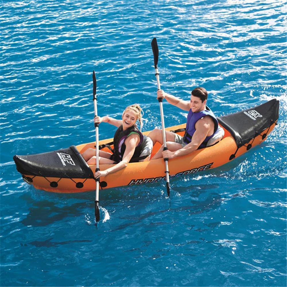 321*88cm Professional surfboard Inflatable Fishing Kayak 2-Person with Aluminum Oars and High Output Air Pump