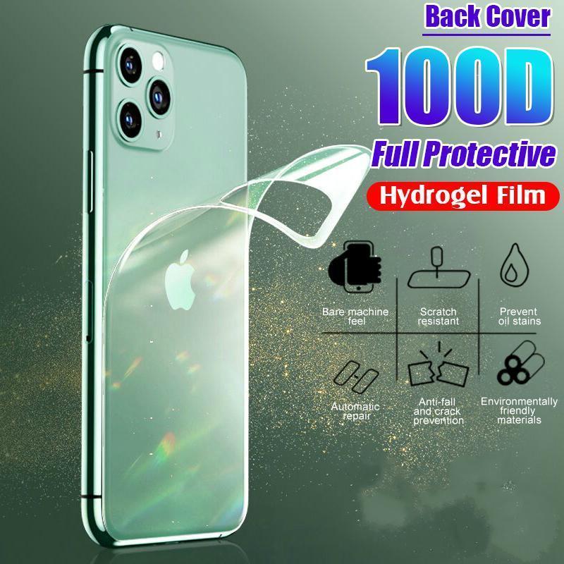 Cubierta de película de hidrogel protector 100D para iPhone 11 PRO 6 6S 8 7 PLUS XR X XS Max Protector de película de espalda completa MAX CINEA SUAVE NO GRANCE