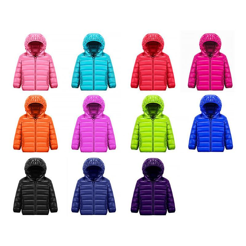 Ultra Light Children 11 Color 90% White Duck Winter Warm Child Coat Boys and Girls Hooded Down Jacket 12m-14t