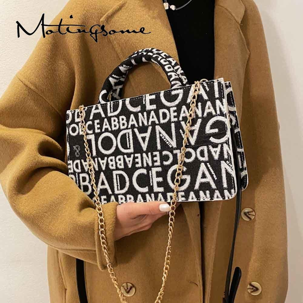 Luxury Designer Bag Women Shuolder Bags with Chains Denim Handbag Letter Pattern Female Crossbody Purses and Handbags 2021 New Q1230