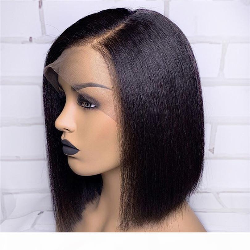 Яки прямой кружевной парик с натуральной столом боковой части Кружева передние человеческие волосы парик бразильские реми для волос отбеленные узлы маленькая крышка