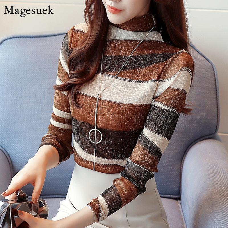 Mujeres de la manera camisas rayadas de la blusa de cuello alto suéter de manga larga superior más el tamaño de la blusa de las mujeres 2020 Oficina Coreana 821E 30