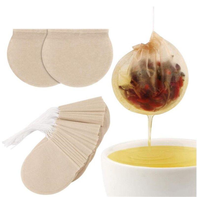 100 pezzi / lotto borse da tè rotondo Borsa da filtro del tè vuota con borse da tè in carta stringa per tè sciolto monouso