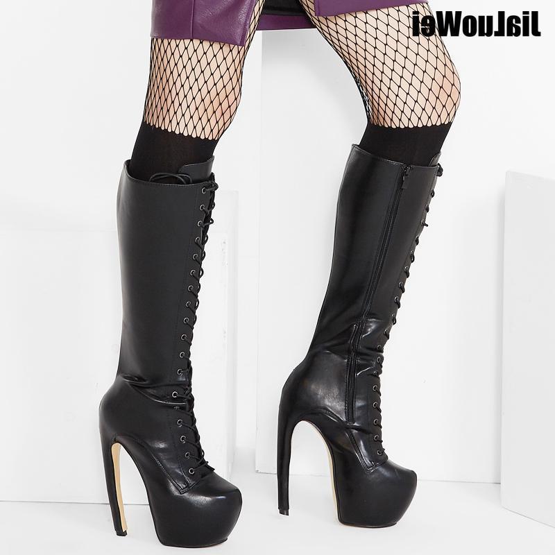 """Salto Novo Design Curva estilo estranho na altura do joelho botas 7"""" Super High Heel Ocultar Platform Sexy Lace up Botas de couro PU"""