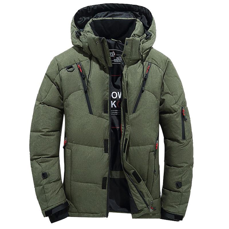 Invierno Hombre Espesar caliente ocasional de los hombres de nieve Parkas Abrigo Pato blanco abajo cubren con capucha Hombre rompevientos chaqueta M-4XL
