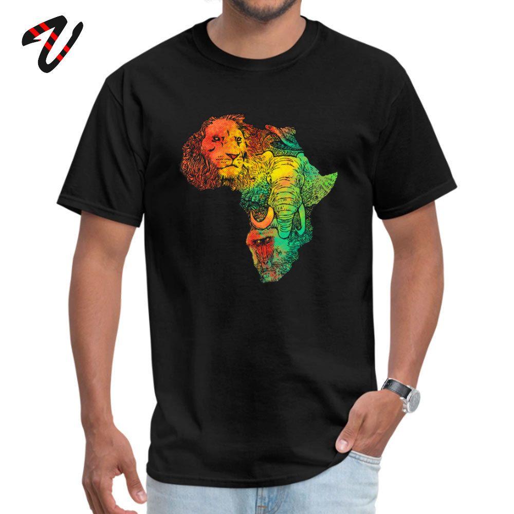 Africa impressionante Designer Per Leone Elefante Scimmia Mappa Acquerello Stampa artistica Mens maglietta superiore del T Sport Felpa con cappuccio degli uomini della maglietta