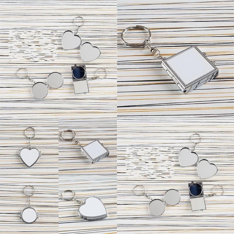 Transferência de Calor Chaveiro Dupla Face Sublimação Blanks Amor Circular Quadrados Coração anel de metal Espelhos Buckle Impressão Foto 3 F2 2HH