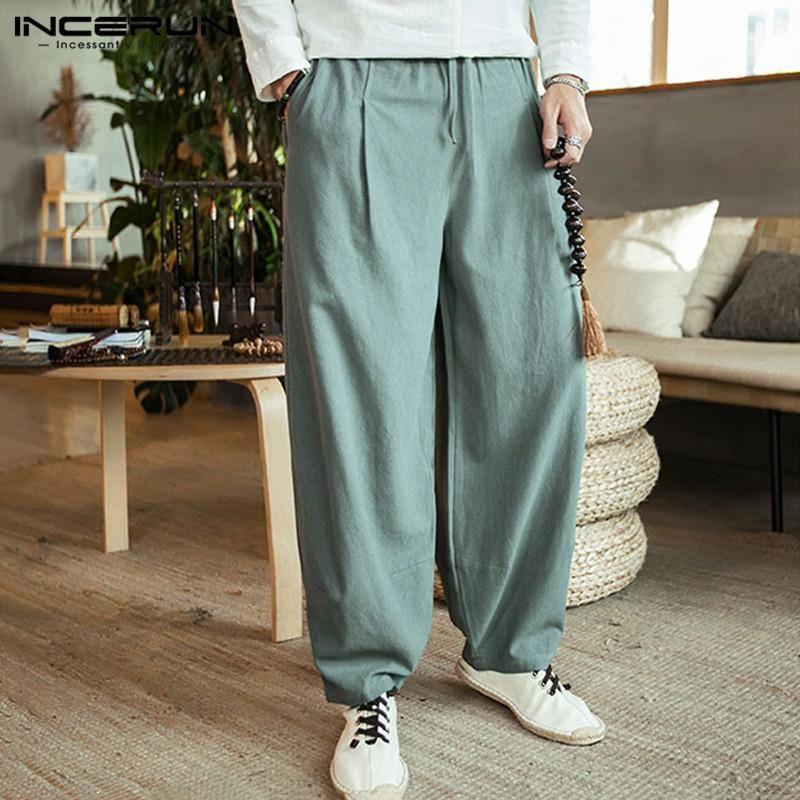 INCERUN para hombre pierna ancha pantalones de cordón de la vendimia bolsillos algodón sólido Baggy 2019 Pantalones Joggers Harem Pantalones Streetwear hombres S-5XL
