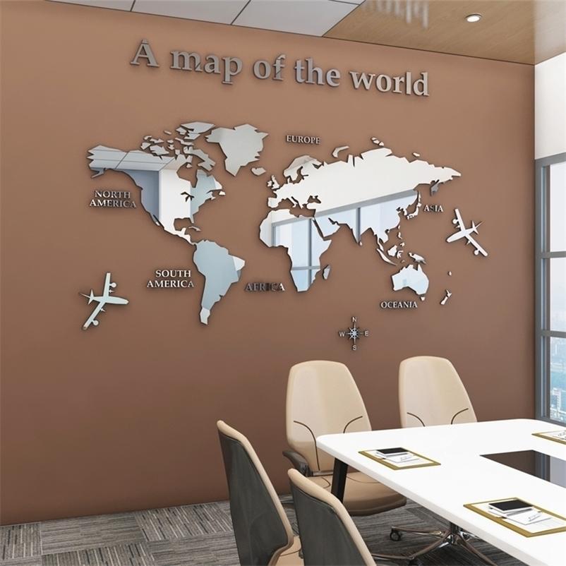 Европейский тип мира карта 3d акриловые наклейки стены хрустальные зеркальные наклейки для офисного дивана телевизор фон стены декоративные наклейки 201201
