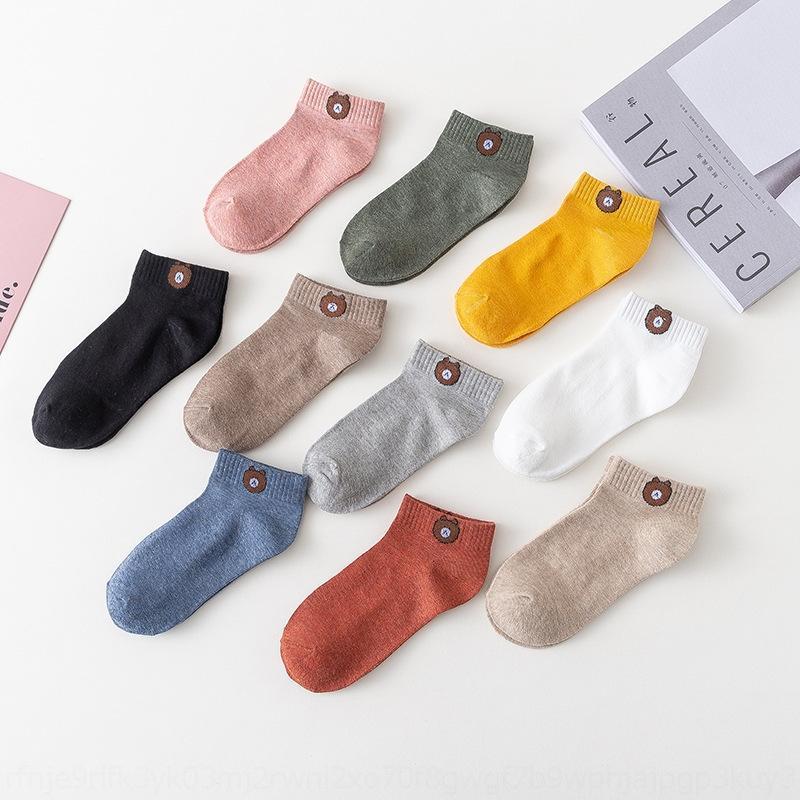 A Primavera eo Outono 2020 nova urso bordados doce maré meias meias cor de algodão coreano de doces crianças c9s6c