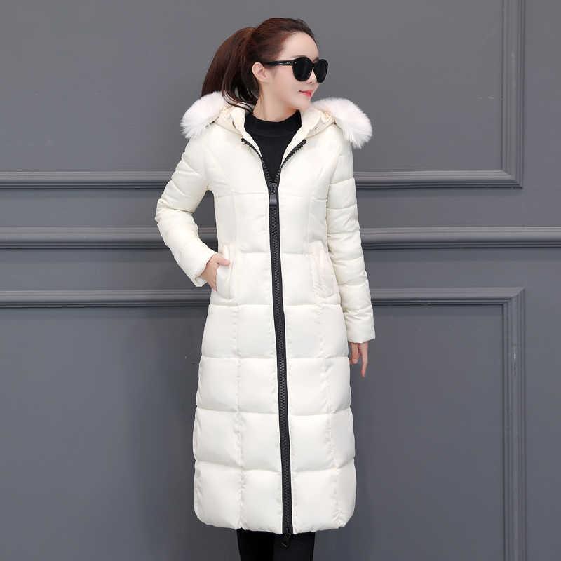 plus size winter women down jackets 2020 new Fur collar long coat female Korean slim thick warm parkas cotton jacket tide