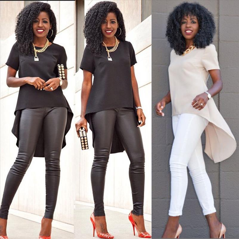 Fashion Sexy Women Summer Loose Casual Chiffon Plus Tee Shirt Blouse Solid O Neck Ladies Casual Party Tops Plus Size S 5XL