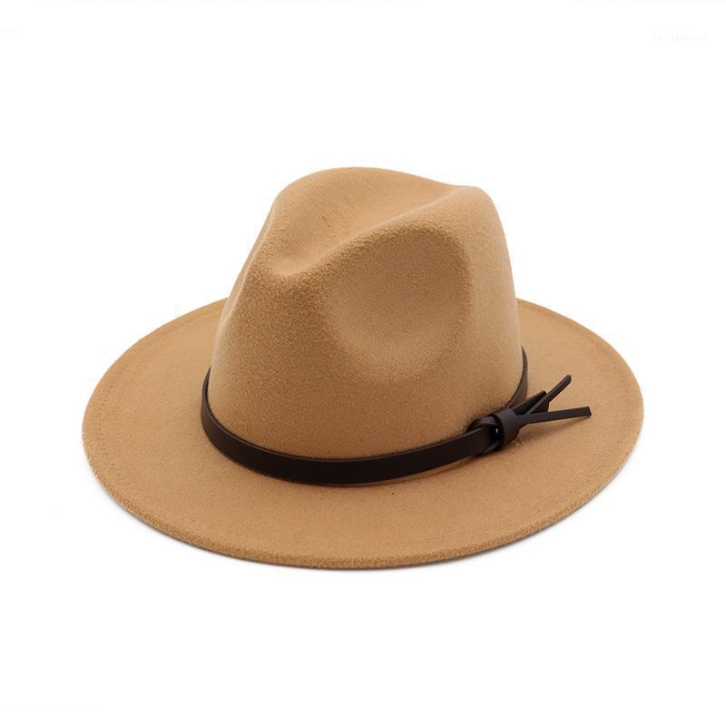 Geniş Ağız Şapkalar Kadın Yün Hollow Batı Kovboy Şapka Roll-up Cowgirl Caz Binicilik Sombrero Cap Ile İnce Şerit1