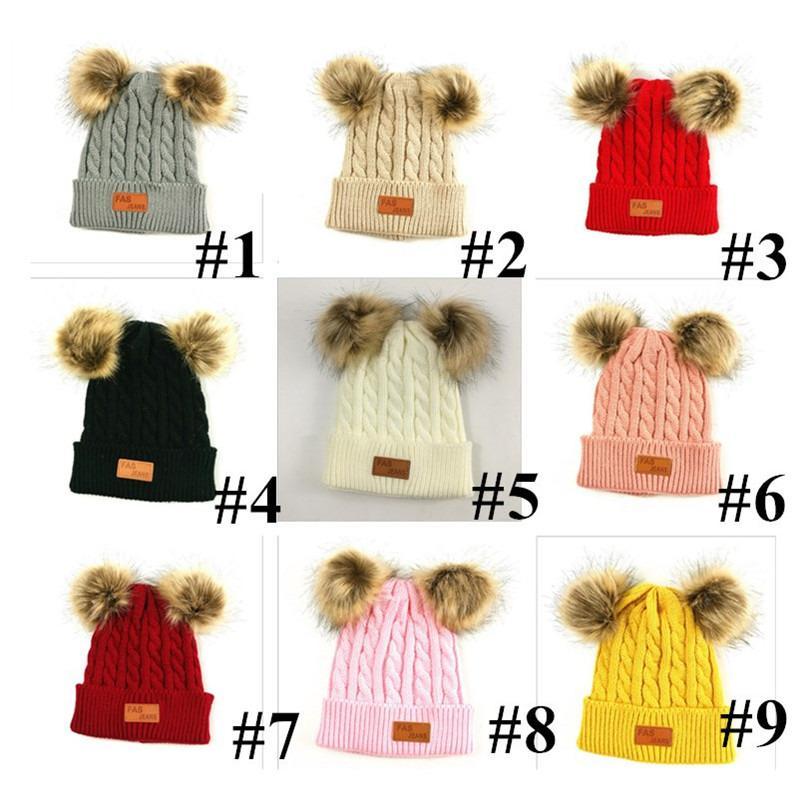 Children Beanies Winter Infant Newborn Kids Baby Woolen Knitted Beanie Skull Cap Two Double Pom Pom Beanie Boys Girl Crochet Hats E101003