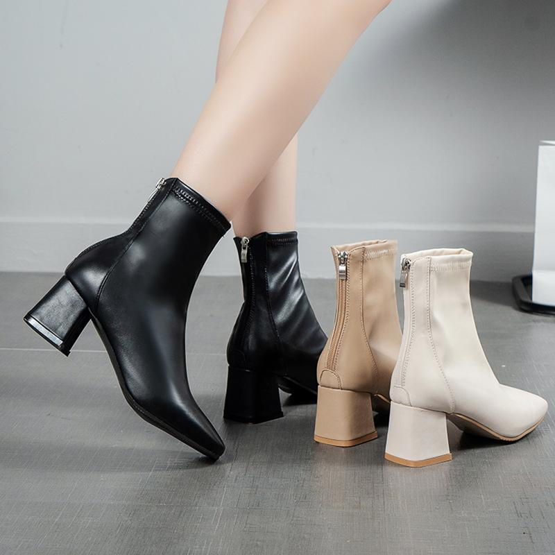 Scarpe Lady Stivali donna autunno punta rotonda di lusso Designer Calzari donna 2020 Basso del tacco-donne signore gomma Metà di-Vitello