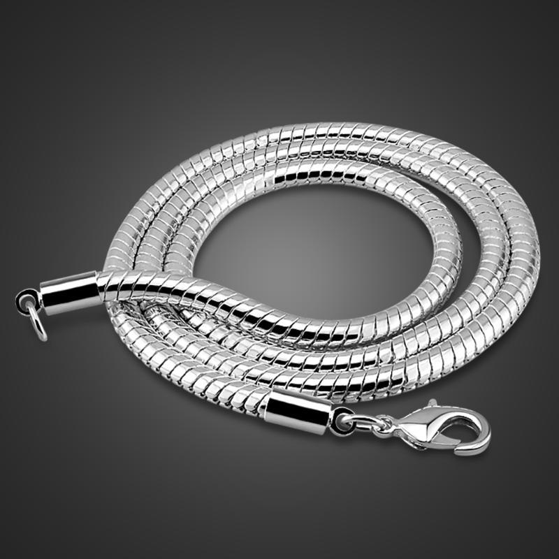Männer 925 Sterlingsilber-Halskette Mode Snake Chain Design Herrenmode Schmuck festes silbernes Halskette Geburtstagsgeschenk