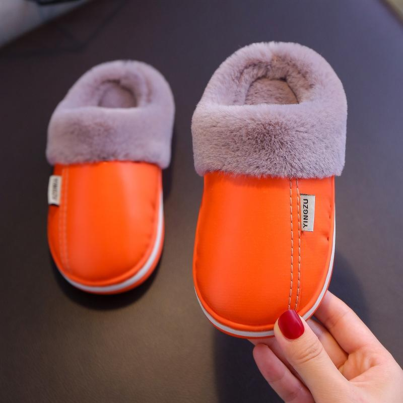 pNOtk Детский хлопок зима PU кожа для мальчиков девочек теплые тапочки тапочки родители и дети согреться противоскользящей мягкой подошвой и waterp