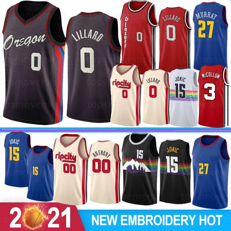 Damian 0 Lillard 15 Jokic NCAA Carmelo 00 Anthony Men College Basketball Jerseys C.J. 3 McCollum 2021 Jamal 27 Murray