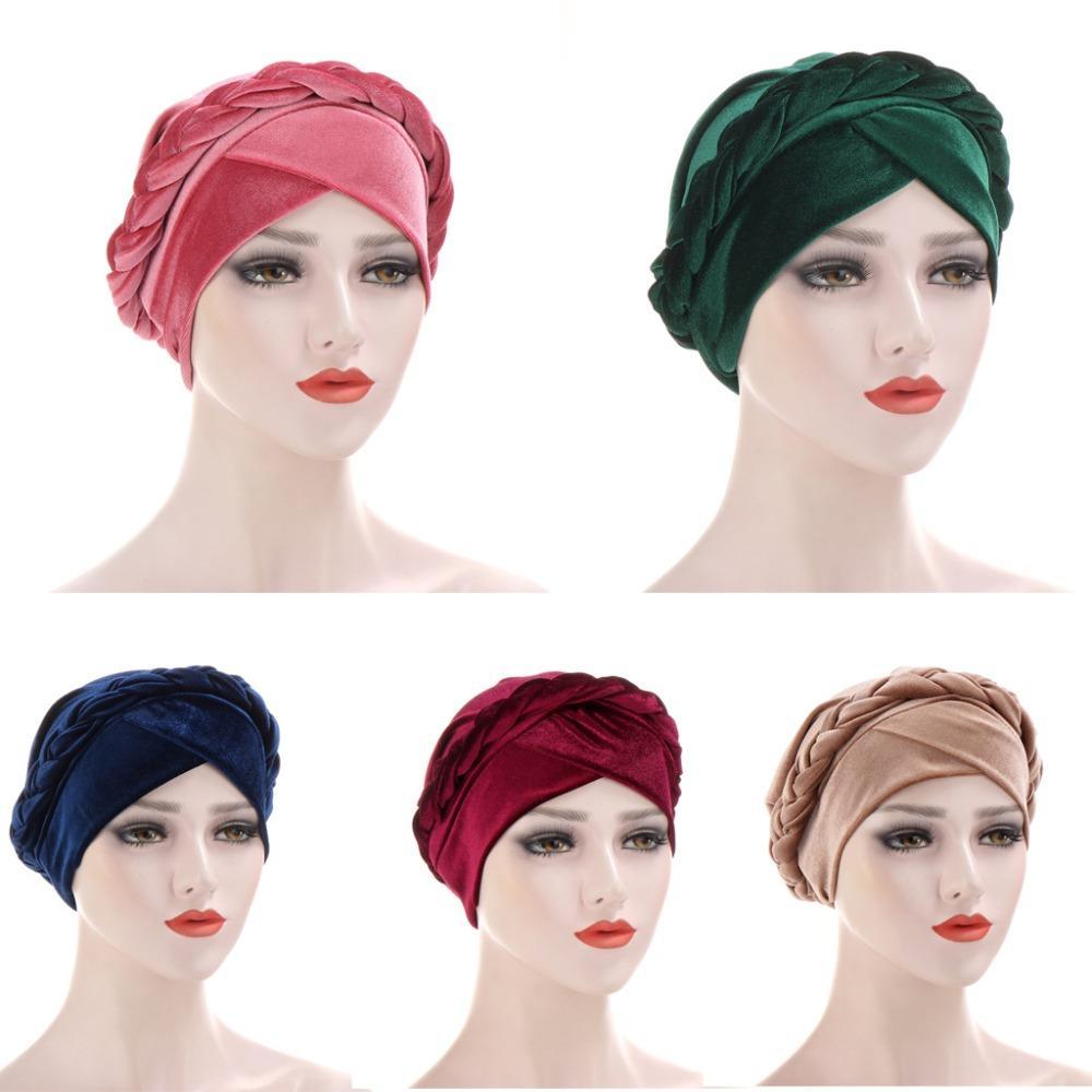 turbante de moda terciopelo mujeres de la trenza Hijabs Cap islámico musulmán de la bufanda del color sólido interior Hijab tapas Árabe cabeza envoltura bufandas del capo del sombrero