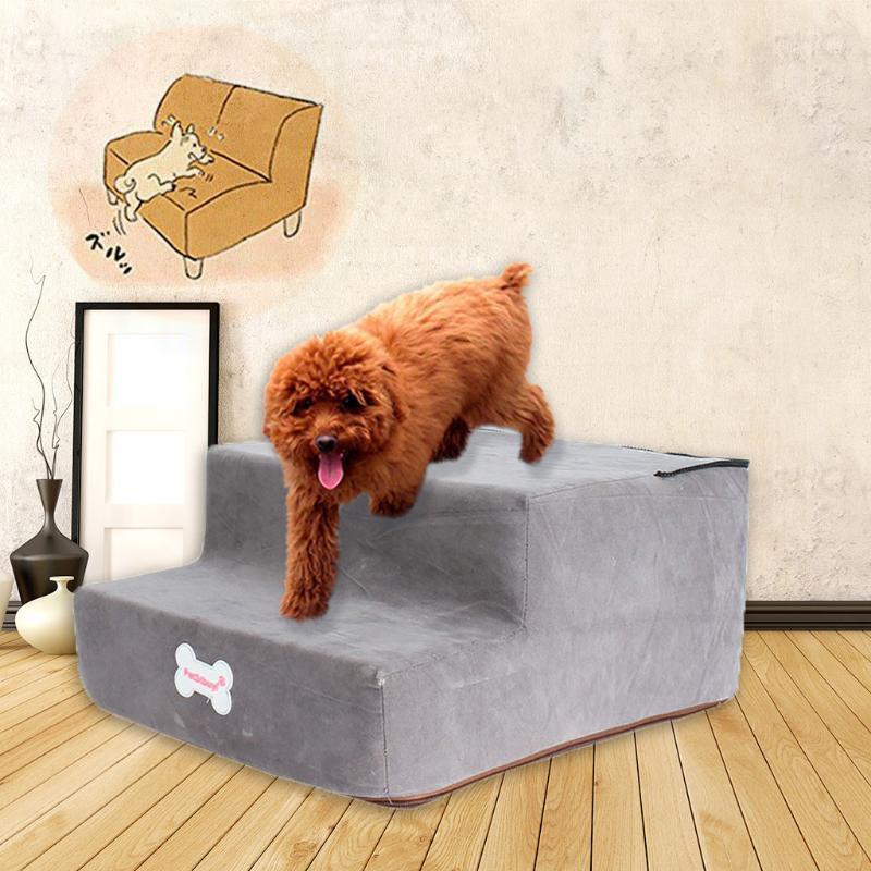 Uygun Yüksek Yoğunluklu Sünger Pet Merdiven Mikrofiber Kapak Kaymaz Alt Yıkanabilir Fermuar Popüler Pet Köpek Kedi Komik Köpek Toy1