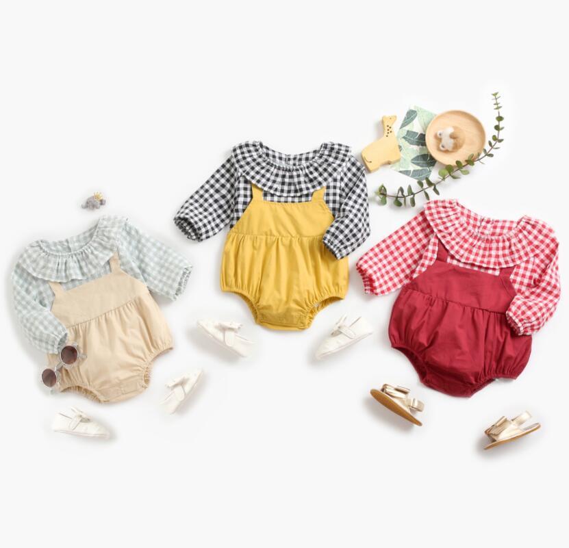 2021 ins طفلة أطفال تسلق رومبير كم طويل الكشكشة طوق منقوشة خليط تصميم رومبير 100٪٪ الربيع طفلة فتاة السروال القصير 0-2T