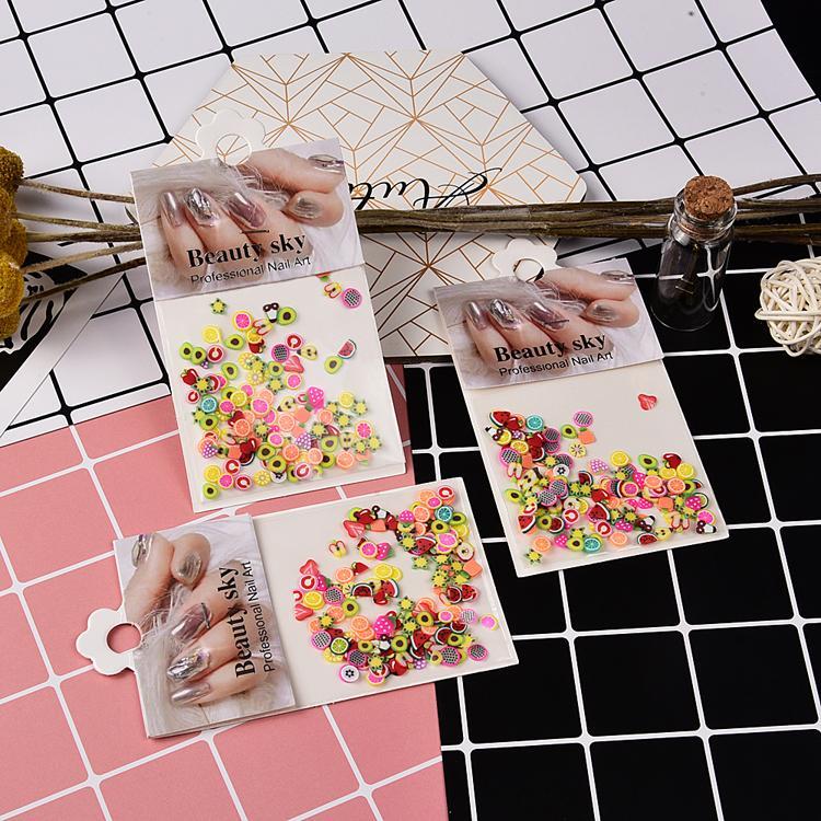 6 Taschen / Set Nagel Design billig 3D Obststöcke Nägel Kunst Scheiben Gemischte Formen Bunte Früchte für Nägel
