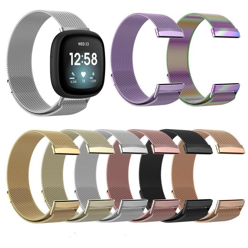 Manyetik Döngü Metal Bant İçin Fitbit Versa 3 Sense Bileklik Paslanmaz Çelik Watch Bilezik Mesh Kayışı Değişimi