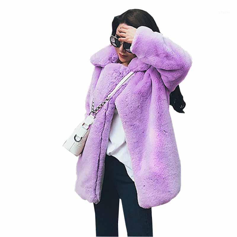 2020 Artı Boyutu Kış Faux Kürk Peluş Ceket Kadınlar Kalınlaşmak Rex Saç Gevşek Sıcak Dış Giyim Kadın Uzun Kollu Sonbahar Ceket G3901