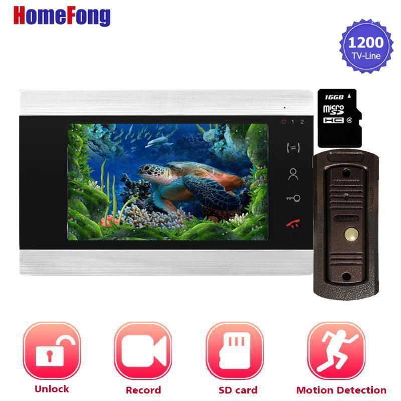 فيديو باب الفيديو homefong 7 بوصة الهاتف الجرس إنترفون نظام الكاميرا المنزل فتح سجل بطاقة sd المدمج في power1