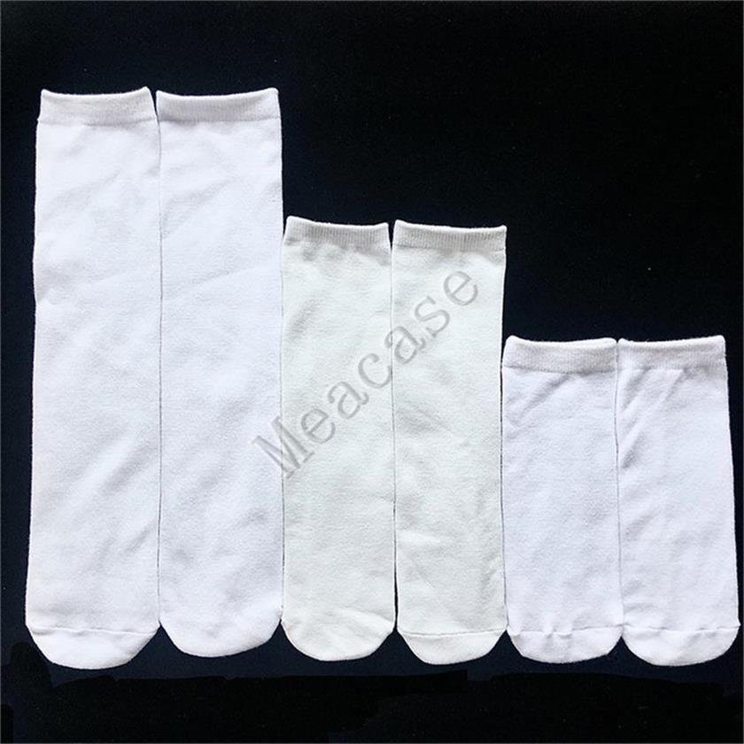 Sublimation White Socks Thermal Transfer Plain Blank Double-sided Printing Stockings 15cm 20cm 24cm 30cm 40cm Unisex Casual Socks F102305