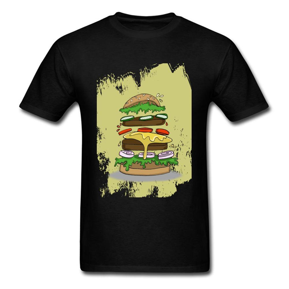 Bianco, Giallo, Big Burger cibo manica corta estate divertente raffreddano Interessante maglietta Per il ragazzo di marca Top Sport Felpa con cappuccio degli uomini della maglietta
