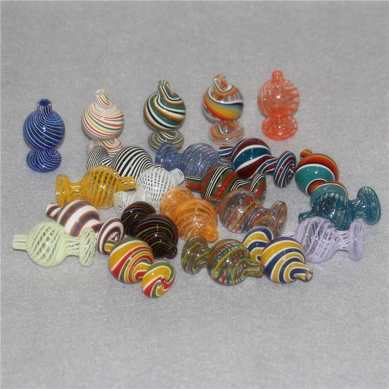 25mm OD Colorful Glass Bubble Bubble Casquettes Pour Top Plat Top Quartz Banger Nails Silicone Nectar Collectionneurs Verre Tuyaux d'eau Bongs Tuyaux Dab