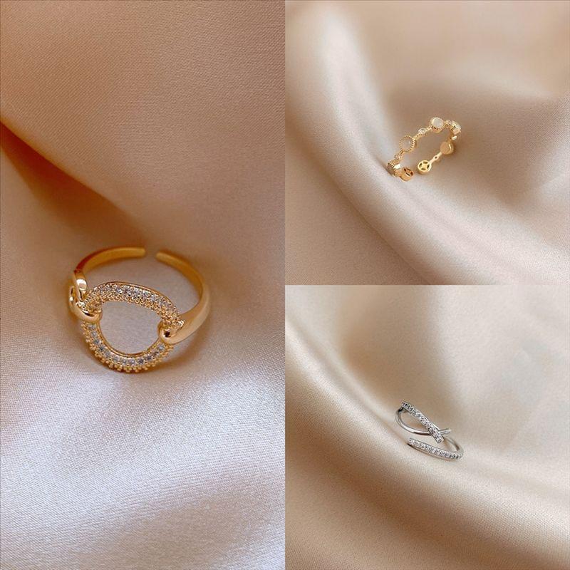 sxx95 cristal cortado estrela anéis dedo vintage anéis de casamento luno boêmio moon individual anel japonês e coroa de diamante coreano trança