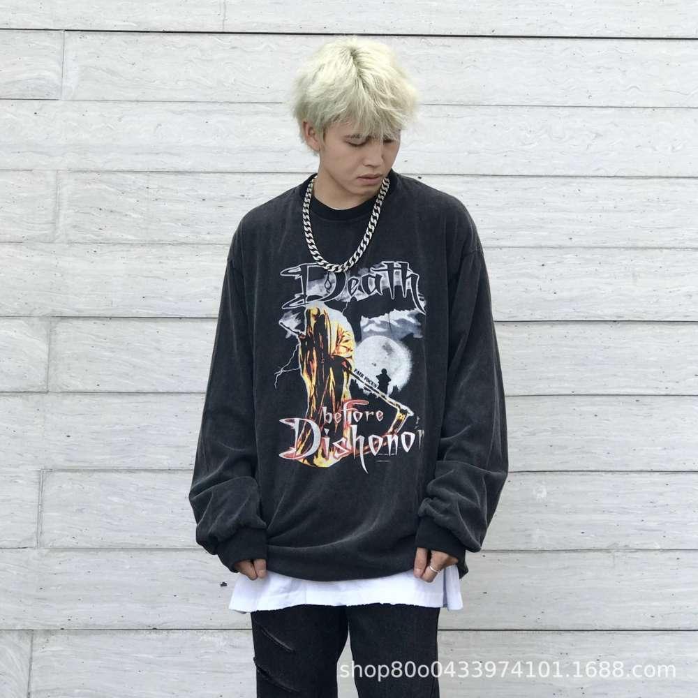 Chaopai High Street Oscuro Wind Rock Hip Hop Harajuku Hombre Lavar por Hombre Viejo Suéter de manga larga