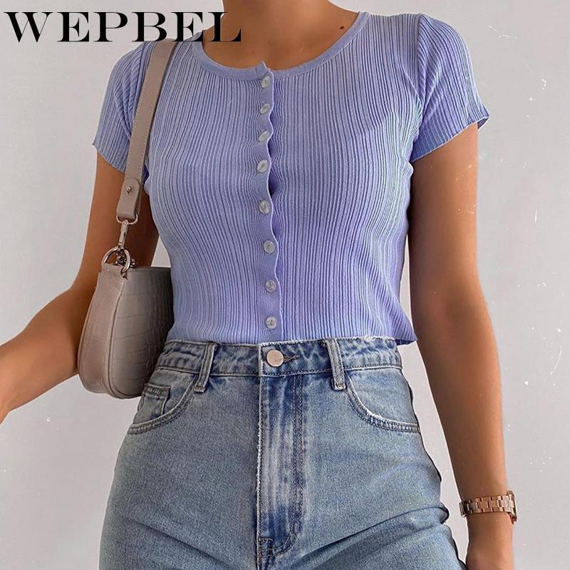 Camiseta corta de la camiseta de la camiseta corta de la camiseta de las mujeres de Webblel para las mujeres de verano de la moda del color sólido de verano