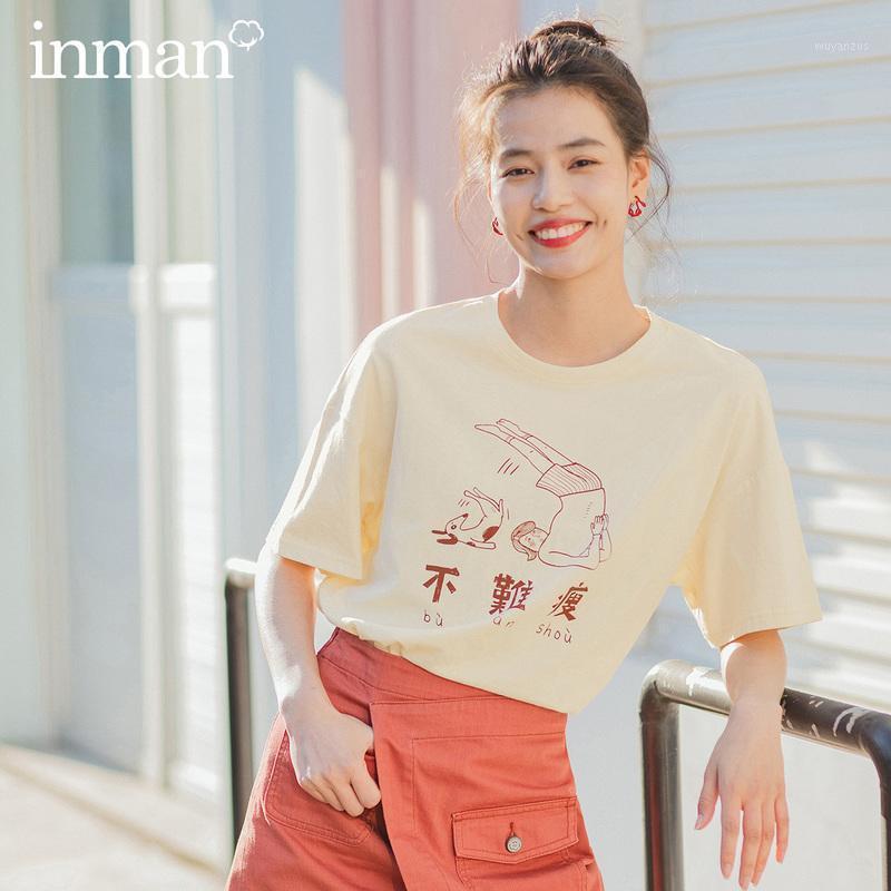 Inman 2020 verano nueva llegada literario algodón puro ingenioso dibujos animados estampado suelto flejo de manga corta t-shirt11