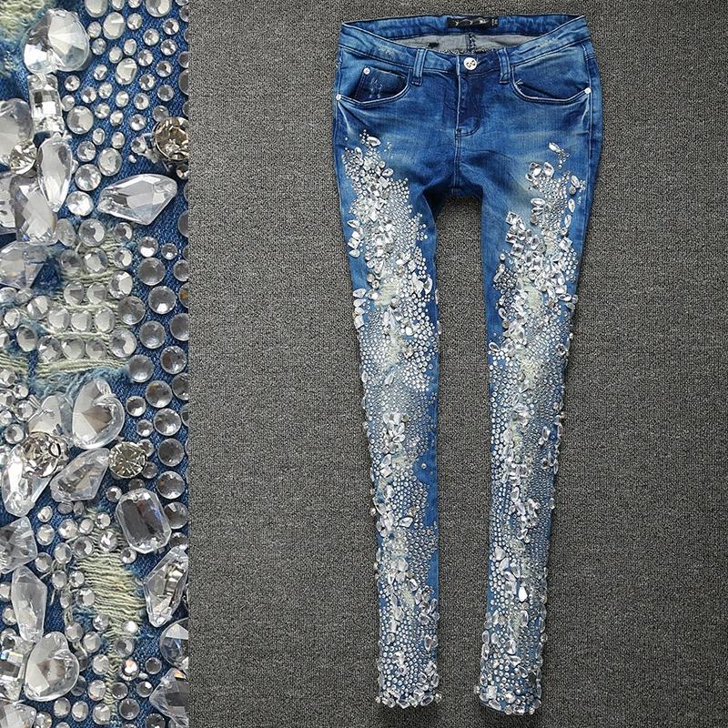 2018 moda autunno Strass diamante magro jeans del denim skinny sottile Stretch matita i jeans Y6fm #
