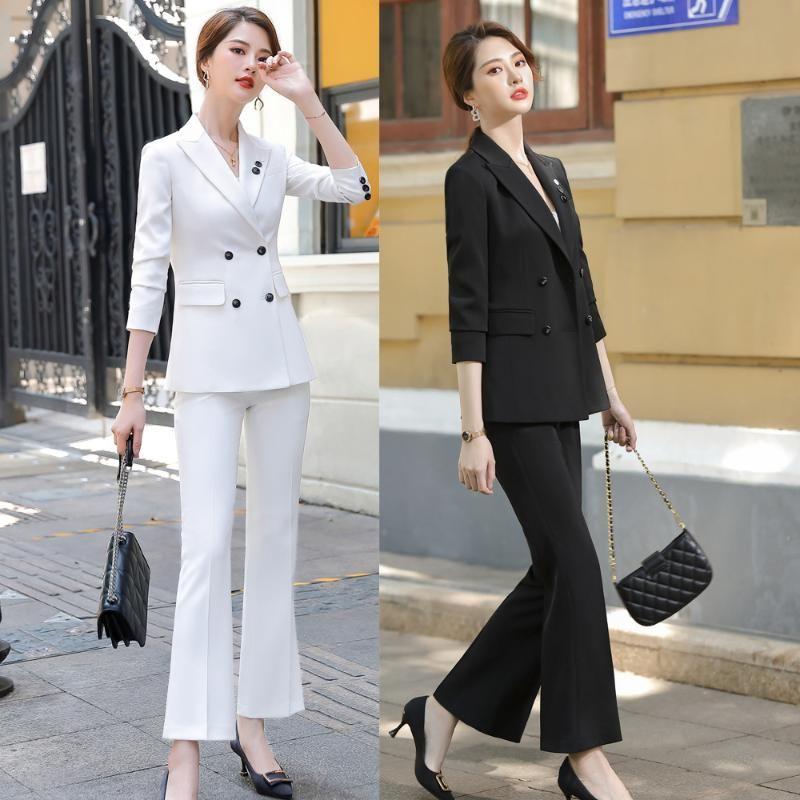 Pantaloni da donna a due Pantaloni Bianco Bianco Abbigliamento Abbigliamento Abbigliamento Attrezzatura Temperamento Dea Stile Stile Presidente del tempo libero Presidente trasmesso Host Abbigliamento formale