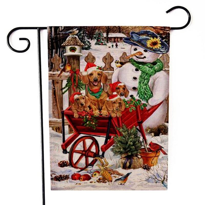 Bandiera a due lati Bandiera Stampa Snowman Little Dog Pattern Bandiere Stile Natale Multi Colori Banner Nuovo Arrivo 6KX L1