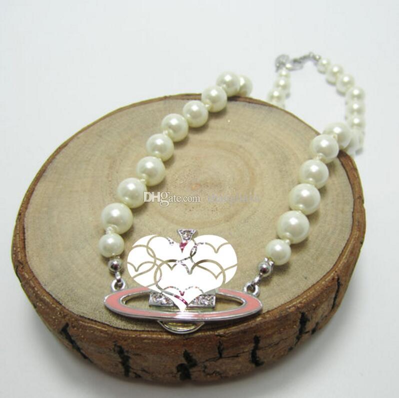 Neue Boutique-Damen voller Diamanten Satellitenperlenkette Claviclekette Halskette Liebe Geschenk Bekleidungszubehör schnell Anhänger Lieferung