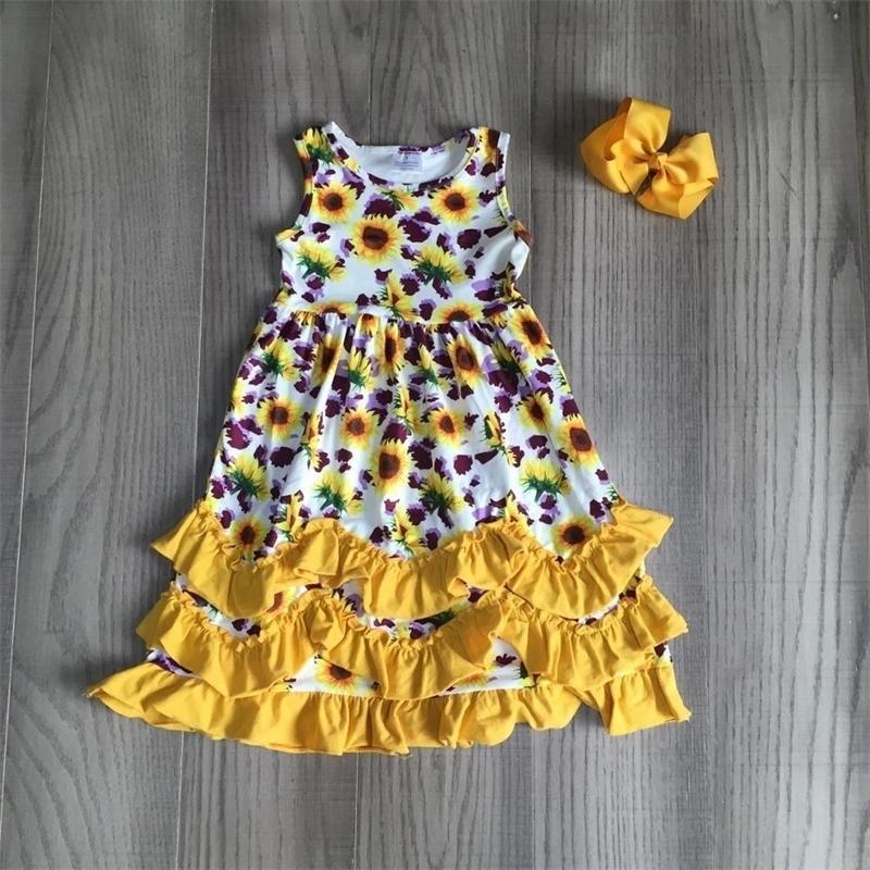 Girlymax Summer Girls Niños Ropa Sumflower Mint Sirena Leche Seda Ruffles Baby Kidswear Ruffles Maxi Vestido Accesorio 20126