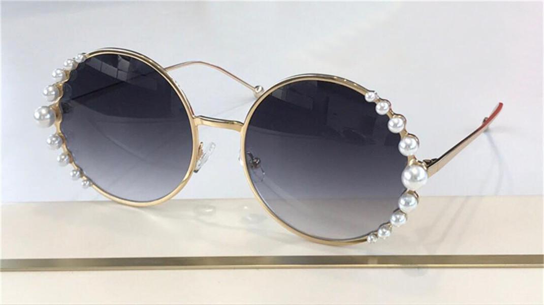 Мода дизайн Солнцезащитные очки 0295S Круглая металлическая рамка, инкрустированная с жемчугом Высочайшее качество Авангардный стиль УВ400 Защитные очки