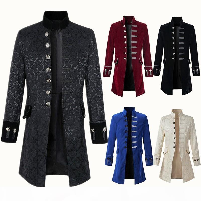 5 colori S-XXXL uomo maschio retrò pizzo pizzo tailcoat giacca vittoriana petroloncino steampunk gotico ringmaster coda cappotti