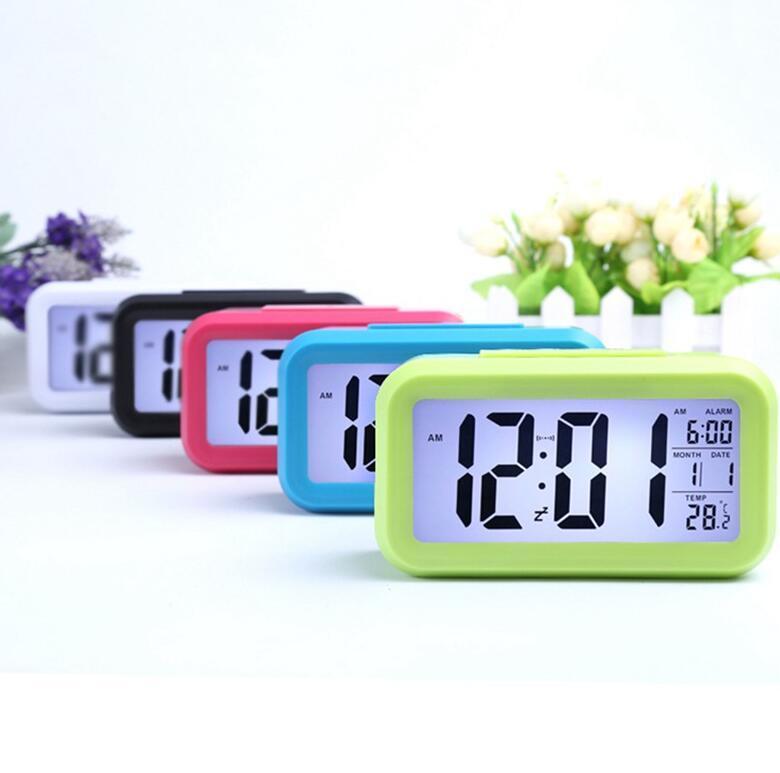 Smart Sensor Nightlight Цифровой будильник с термометрами температуры календарь, тихий настольный стол.