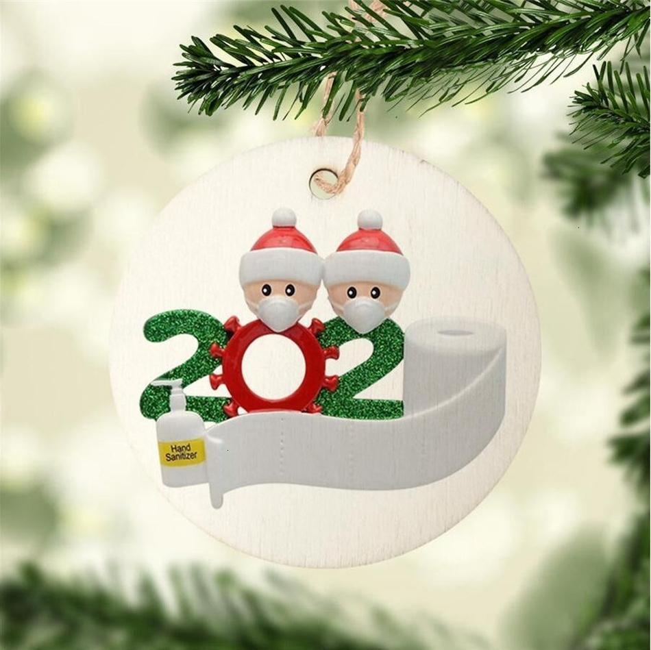 8cm Rund 2020 Quarantine Familie Ornament DIY Holz-Karte Weihnachtsbaum Sankt-hängender Anhänger Partei-Dekoration LJJP555BAUE
