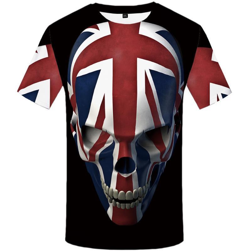 Hip Designer رجل قميص رجالي أسود طباعة الزى المملكة المتحدة القوطية العلامة التجارية الشرير تي شيرت T روك الملابس عارضة 3d الملابس أنيمي هوب كفرو