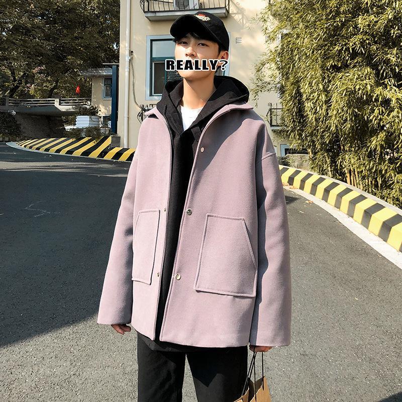 2021 мужская повседневная негабаритные куртки осень зима новая корейская уличная одежда мода ветровка шерстяной одежды одежды mgzi