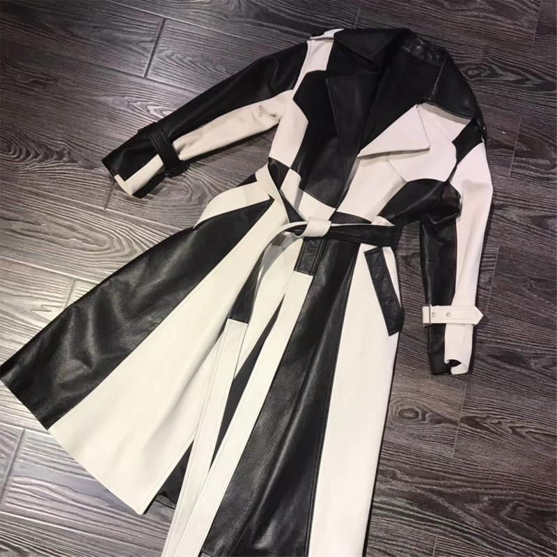 Настоящие кожаные пальто женские натуральные кожаные ветроболяющиеся женщины Лейббская пальто 201030